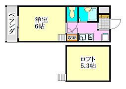 千葉県船橋市前原西7の賃貸アパートの間取り
