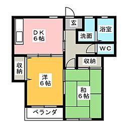 静岡県静岡市葵区若松町の賃貸アパートの間取り