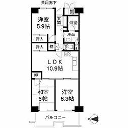 Osaka Metro南港ポートタウン線 ポートタウン西駅 徒歩6分の賃貸マンション 4階3LDKの間取り