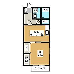 デルソール富士見 1階1DKの間取り