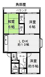 コーポ堅田[3階]の間取り
