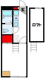 レオパレスサニーメゾン飯塚 2階1Kの間取り