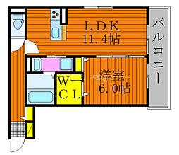 JR伯備線 庭瀬駅 徒歩15分の賃貸アパート 3階1LDKの間取り