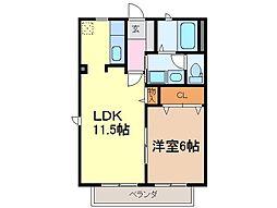静岡県富士市原田の賃貸アパートの間取り