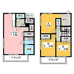[テラスハウス] 愛知県名古屋市緑区徳重4丁目 の賃貸【愛知県 / 名古屋市緑区】の間取り
