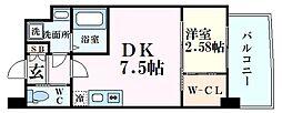 阪神本線 甲子園駅 徒歩8分の賃貸マンション 4階1DKの間取り
