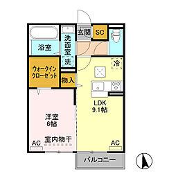 JR水戸線 結城駅 徒歩30分の賃貸アパート 1階1LDKの間取り