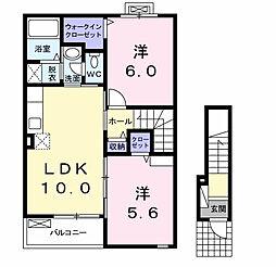 ノイ ファミーリエ 2階2LDKの間取り