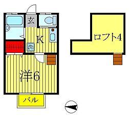 レインボーハイツ柴又[1階]の間取り