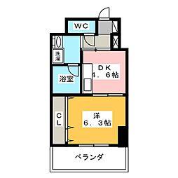 静岡茶町エンブルコート 4階1DKの間取り