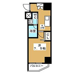 ニューガイア リルーム芝NO.28 9階1Kの間取り