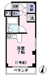 フレクション浦和田島 3階ワンルームの間取り