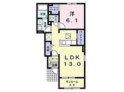 JR姫新線 余部駅 徒歩22分の賃貸アパート 1階1LDKの間取り