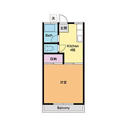 コーポ桂B[2階]の間取り