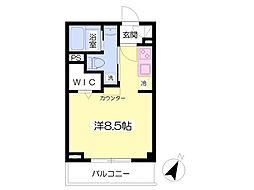 東急東横線 都立大学駅 徒歩7分の賃貸マンション 4階ワンルームの間取り
