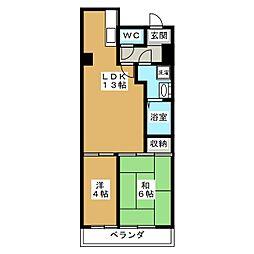 京都府京都市中京区柳水町の賃貸マンションの間取り