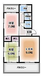 浜田ハイツ[1-D号室]の間取り