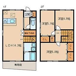 [テラスハウス] 福岡県大野城市山田3丁目 の賃貸【/】の間取り