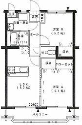 メゾンドール花山手II[203号室]の間取り