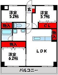 JR筑豊本線 中間駅 徒歩10分の賃貸マンション 4階3LDKの間取り