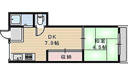 グロー東加賀屋[413号室]の間取り