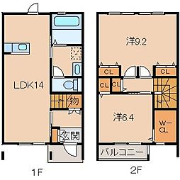 ラ・フェリオ松江中 1階2LDKの間取り