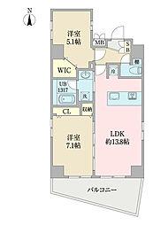 EIRAKU apartment 7階2LDKの間取り