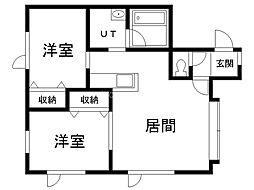 ビラ昭和1号館 1階2LDKの間取り