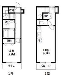 東急東横線 祐天寺駅 徒歩5分の賃貸アパート 1階1LDKの間取り