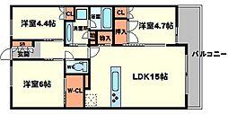 イニシア桃山台[3階]の間取り