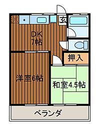第2花島ハイツ[1階]の間取り