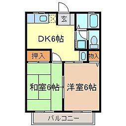 静岡県富士市宇東川東町の賃貸アパートの間取り