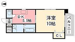 キャッスル千舟 4階1DKの間取り
