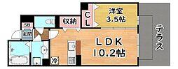 阪神本線 岩屋駅 徒歩5分の賃貸アパート 1階1LDKの間取り