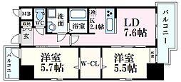 カシマ上東雲 10階2LDKの間取り
