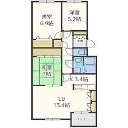 北海道札幌市東区北十八条東21丁目の賃貸マンションの間取り