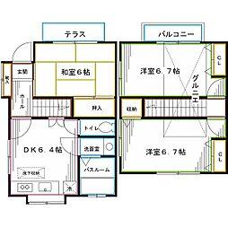 西武新宿線 都立家政駅 徒歩9分の賃貸テラスハウス 3DKの間取り