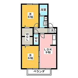 エバーグリーン(福岡町)[2階]の間取り