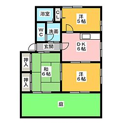 メモリアル B棟[1階]の間取り