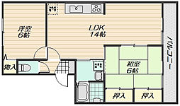 セゾン高取北弐番館[3階]の間取り