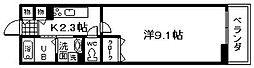 南海線 尾崎駅 徒歩3分の賃貸アパート 1階1Kの間取り