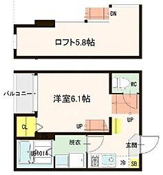 仙台市営南北線 愛宕橋駅 徒歩4分の賃貸アパート 1階1Kの間取り