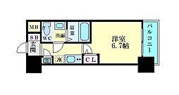 アドバンス新大阪ラシュレ 5階1Kの間取り