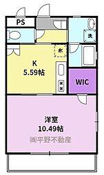 仮)久留米大学生向け新築賃貸マンション 2階1DKの間取り