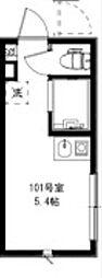 HOMEDAYS高田馬場 1階ワンルームの間取り
