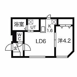 キューブ二十四軒4.4[1階]の間取り
