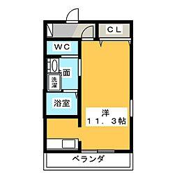 レジェンド横田 2階ワンルームの間取り