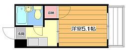 千里山コーポ 3階ワンルームの間取り