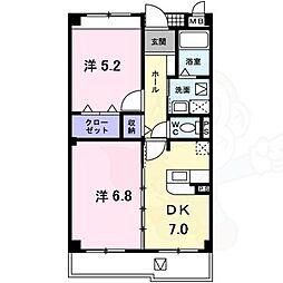 泉北高速鉄道 深井駅 徒歩22分の賃貸マンション 3階2DKの間取り