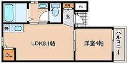 兵庫県神戸市兵庫区小松通4丁目の賃貸アパートの間取り
